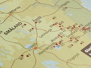 Karta över glasbruk