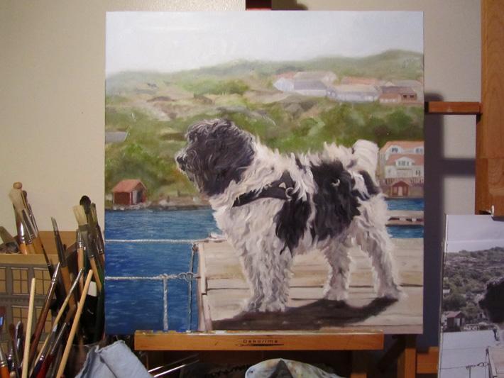 Hundporträtt helbild av tavla